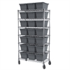 Mobile Wire Shelving Kit, 24 Tubs, Chrome/Gray