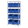Wire Shelving Kit, 18x36x74, 12 Bins, Chrome/Blue