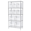 Akro-Mils Wire Shelving Kit, 18x36x74, 12 Bins, Chrome/Clear