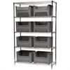 Wire Shelving Kit, 18x48x74, 8 Bins, Chrome/Gray