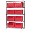 Wire Shelving Kit, 18x48x74, 9 Bins, Chrome/Red