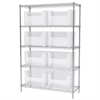 Akro-Mils Wire Shelving Kit, 18x48x74, 9 Bins, Chrome/Clear