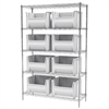 Akro-Mils Wire Shelving Kit, 18x48x74, 9 Bins, Chrome/White