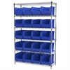 Wire Shelving Kit, 18x48x74, 24 Bins, Chrome/Blue