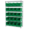 Wire Shelving Kit, 18x48x74, 24 Bins, Chrome/Green