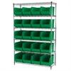 Wire Shelving Kit, 18x48x74, 24 Bins, Chrome/Green