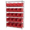 Wire Shelving Kit, 18x48x74, 24 Bins, Chrome/Red