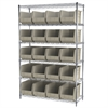 Akro-Mils Wire Shelving Kit, 18x48x74, 24 Bins, Chrome/Stone