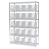 Wire Shelving Kit, 18x48x74, 24 Bins, Chrome/Clear