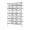 Akro-Mils Wire Shelving Kit, 18x48x74, 24 Bins, Chrome/Clear