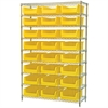 Wire Shelving Kit, 18x48x74, 24 Bins, Chrome/Yellow