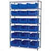 Akro-Mils Wire Shelving Kit, 18x48x74, 18 Bins, Chrome/Blue