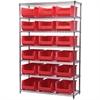 Akro-Mils Wire Shelving Kit, 18x48x74, 18 Bins, Chrome/Red