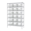 Wire Shelving Kit, 18x48x74, 18 Bins, Chrome/Clear