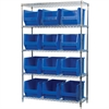 Wire Shelving Kit, 18x48x74, 12 Bins, Chrome/Blue