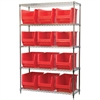 Wire Shelving Kit, 18x48x74, 12 Bins, Chrome/Red