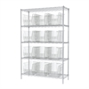 Akro-Mils Wire Shelving Kit, 18x48x74, 12 Bins, Chrome/Clear