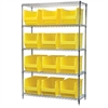 Akro-Mils Wire Shelving Kit, 18x48x74, 12 Bins, Chrome/Yellow