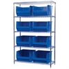 Wire Shelving Kit, 18x48x74, 8 Bins, Chrome/Blue