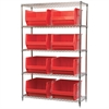 Akro-Mils Wire Shelving Kit, 18x48x74, 8 Bins, Chrome/Red