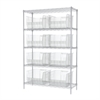 Wire Shelving Kit, 18x48x74, 8 Bins, Chrome/Clear