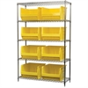 Wire Shelving Kit, 18x48x74, 8 Bins, Chrome/Yellow
