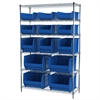 Wire Shelving Kit, 18x48x74, 15 Bins, Chrome/Blue