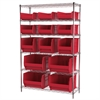 Wire Shelving Kit, 18x48x74, 15 Bins, Chrome/Red