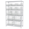 Wire Shelving Kit, 18x48x74, 15 Bins, Chrome/Clear
