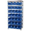 Akro-Mils Wire Shelving Kit, 24x36x74, 28 Bins, Chrome/Blue