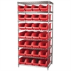 Akro-Mils Wire Shelving Kit, 24x36x74, 28 Bins, Chrome/Red