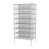 Wire Shelving Kit, 24x36x74, 28 Bins, Chrome/Clear