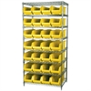 Akro-Mils Wire Shelving Kit, 24x36x74, 28 Bins, Chrome/Yellow