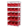 Wire Shelving Kit, 24x36x74, 16 Bins, Chrome/Red