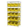 Wire Shelving Kit, 24x36x74, 16 Bins, Chrome/Yellow