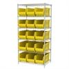Akro-Mils Wire Shelving Kit, 24x36x74, 16 Bins, Chrome/Yellow