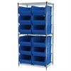 Akro-Mils Wire Shelving Kit, 24x36x74, 12 Bins, Chrome/Blue