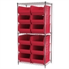 Wire Shelving Kit, 24x36x74, 12 Bins, Chrome/Red