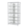 Wire Shelving Kit, 24x36x74, 12 Bins, Chrome/Clear