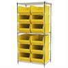 Wire Shelving Kit, 24x36x74, 12 Bins, Chrome/Yellow