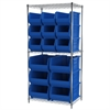 Wire Shelving Kit, 24x36x74, 18 Bins, Chrome/Blue