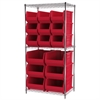 Akro-Mils Wire Shelving Kit, 24x36x74, 18 Bins, Chrome/Red