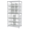 Wire Shelving Kit, 24x36x74, 18 Bins, Chrome/Clear