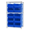 Akro-Mils Wire Shelving Kit, 24x36x63, 10 Bins, Chrome/Blue
