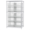 Wire Shelving Kit, 24x36x63, 10 Bins, Chrome/Clear