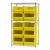 Wire Shelving Kit, 24x36x63, 10 Bins, Chrome/Yellow