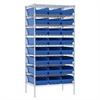 Akro-Mils Wire Shelving Kit, 24x36x74, 24 Bins, Chrome/Blue