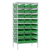 Akro-Mils Wire Shelving Kit, 24x36x74, 24 Bins, Chrome/Green
