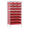 Wire Shelving Kit, 24x36x74, 24 Bins, Chrome/Red