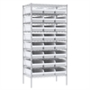 Akro-Mils Wire Shelving Kit, 24x36x74, 24 Bins, Chrome/White
